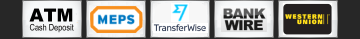ATM Cash Deposit, MEPS, TransferWise, Bank Wire (T/T Transfer), Western Union