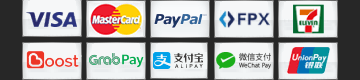Visa, MasterCard, Paypal, FPX, 7-11, Boost, Grab Pay, Alipay, WeChat Pay, UnionPay