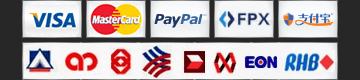 Visa, MasterCard, Paypal, UnionPay, Alipay, Malaysia Local Banks