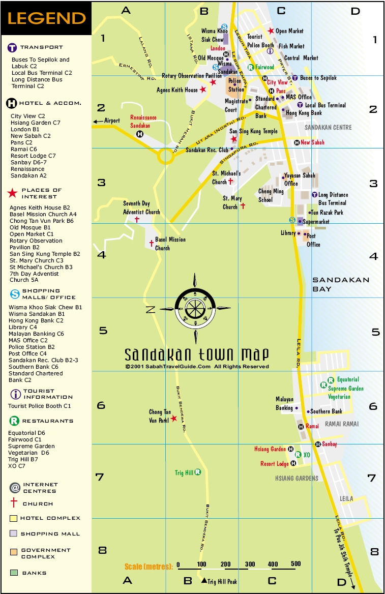 Kota Kinabalu City Map Sandakan City Map Malaysia Travel Agency