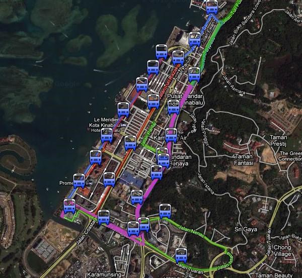 亚庇市区巴士行驶路线图