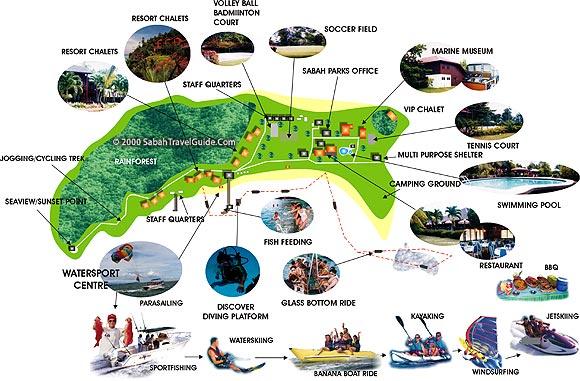 Manukan Island map